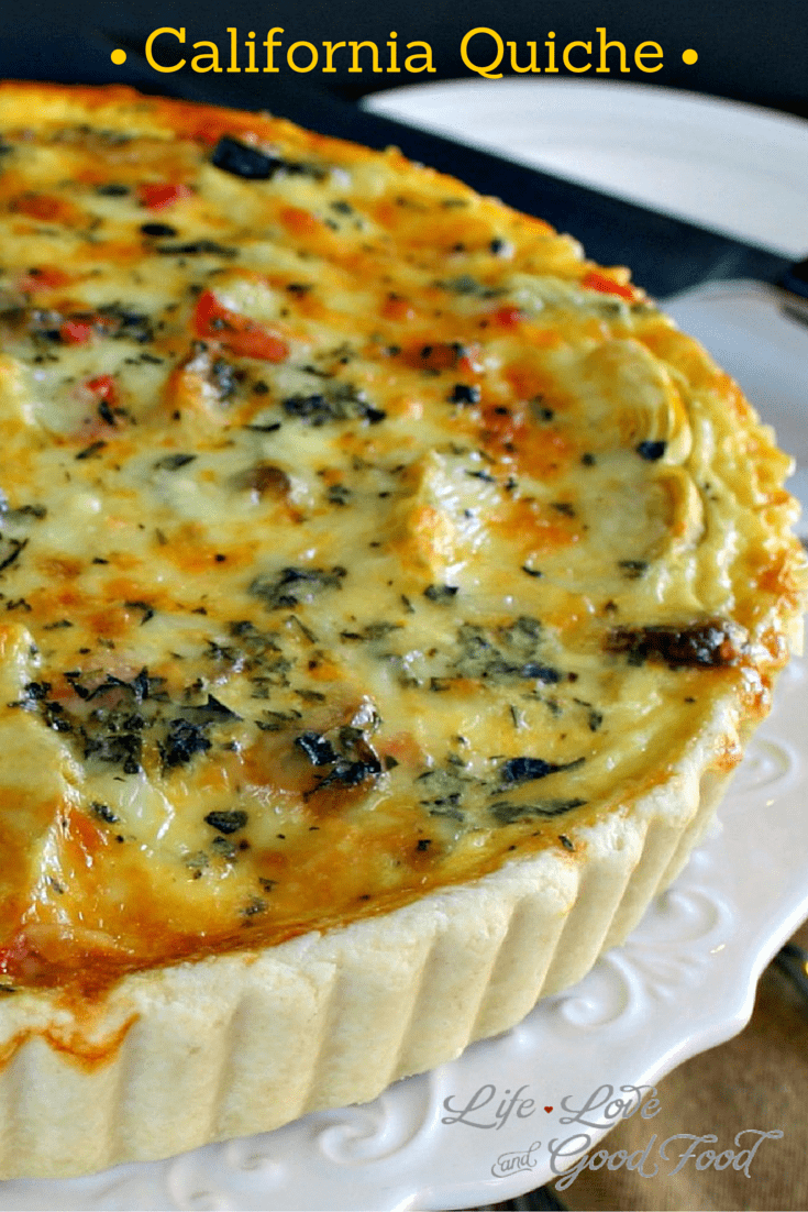 California Quiche. A veggie lover's egg dish with fresh zucchini, red bell peppers, onion, and artichoke hearts. #quiche #breakfast #brunch