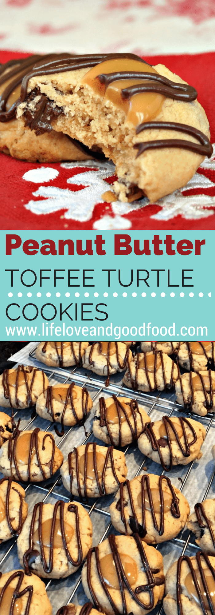 A close up of a Peanut Butter Toffee Turtle Cookie