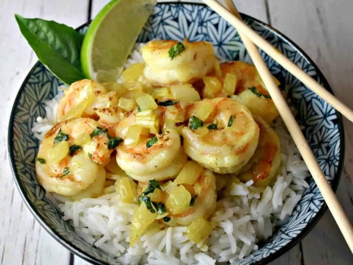 A plate of food, with Coconut Curry Shrimp