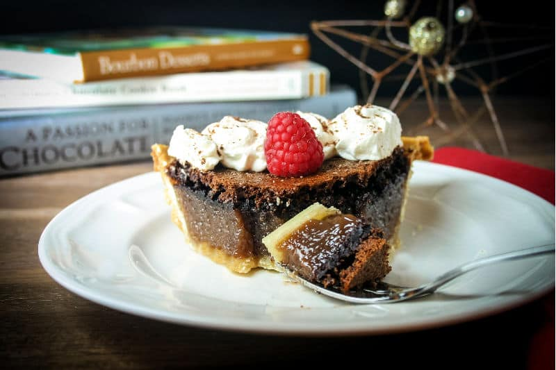 chocolate chess pie bite on a fork
