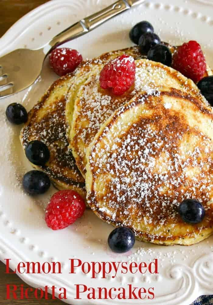 Perfect for weekend brunch, these Lemon Ricotta Poppy Seed Pancakes cooks up to the most amazing light and fluffy texture. This easy pancake recipe was adapted from the menu at the Four Seasons Hotel. Serve dusted with powdered sugar, fresh berries, and maple syrup.