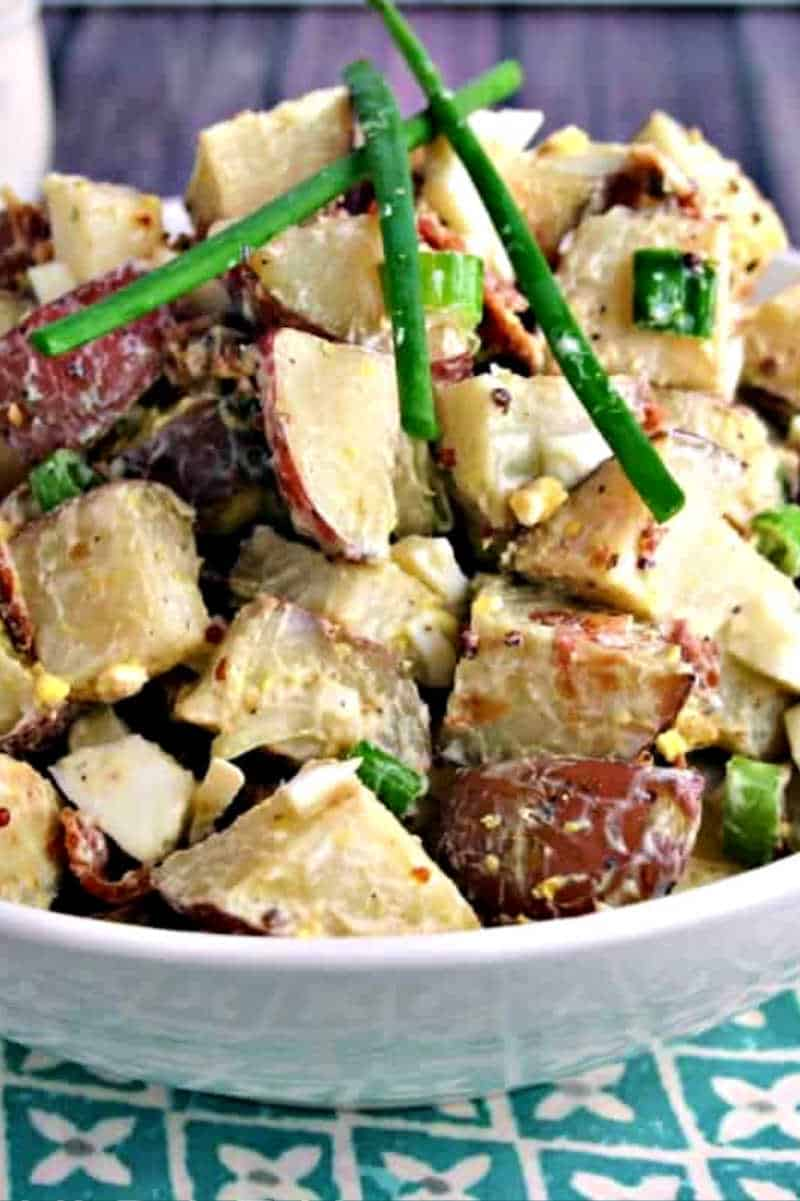 Roasted Red Potato Salad with bacon and green onions