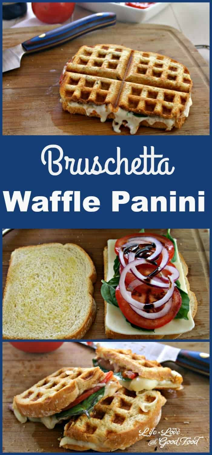 A piece of Bruschetta Waffle Panini sitting on top of a wooden cutting board