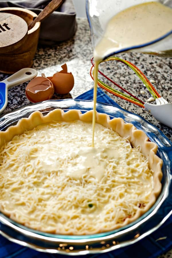 A pie crust filled with quiche ingredients, with Classic Quiche Lorraine