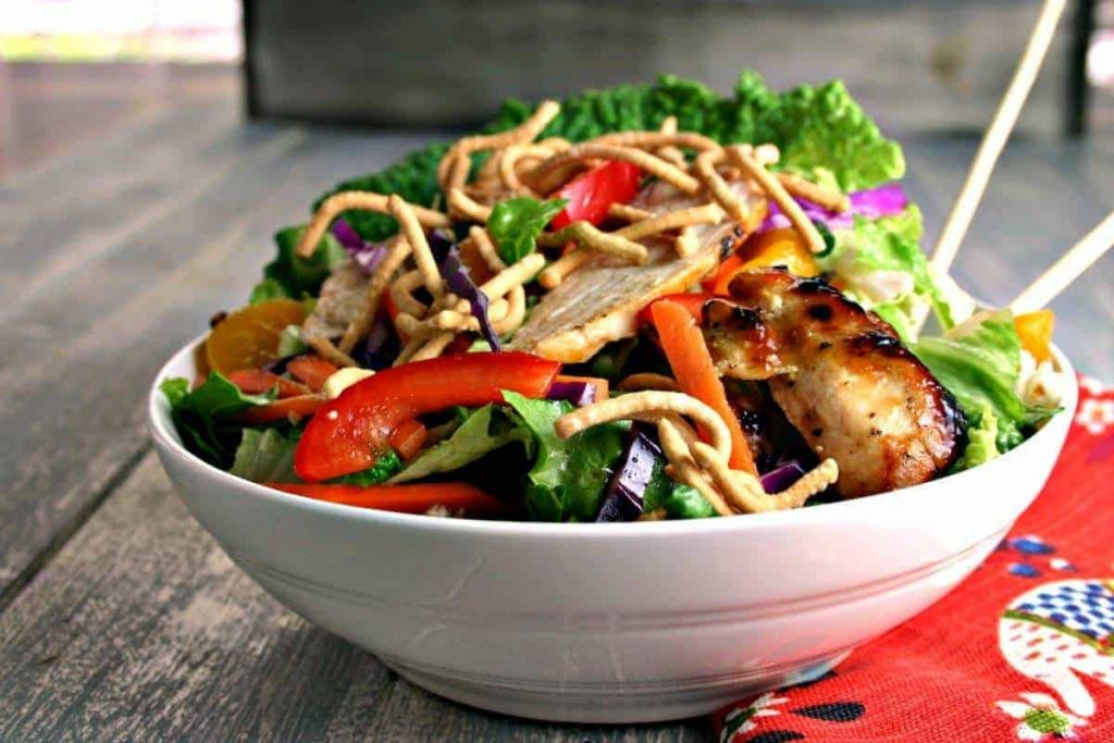 A bowl of salad, with Asian Chicken Salad