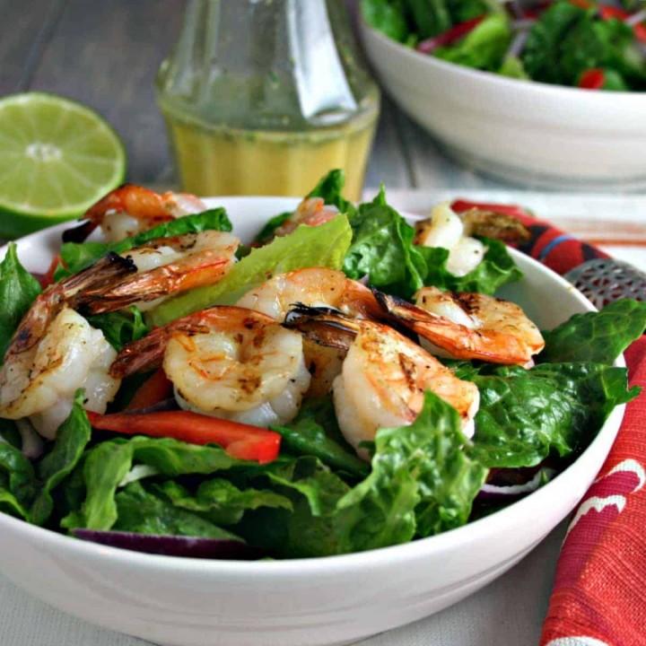 A bowl of salad, with Citrus Grilled Shrimp Salad