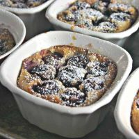 A bowl of food, with Cherry Clafoutis