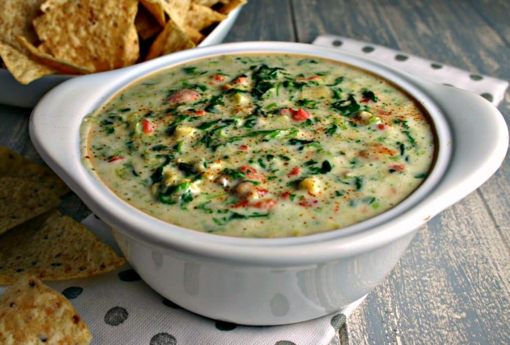 A bowl of Spinach Artichoke Dip on a table