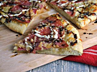 Salami Pizza with Garlic Dijon Aioli