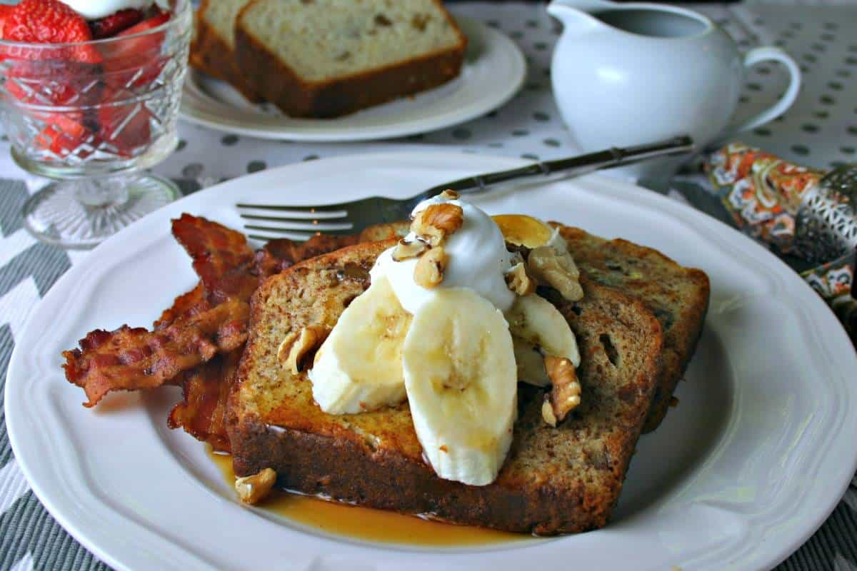 A plate of food with Banana Bread French Toast
