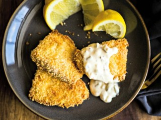 Crispy Oven-Fried Fish Filets with Dijon Tartar Sauce