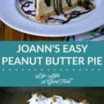 A slice of peanut butter pie on a plate