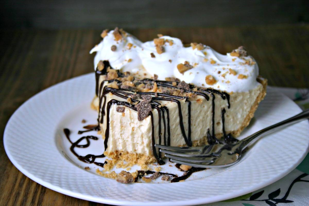 A slice of pie on a plate, with Peanut Butter Pie