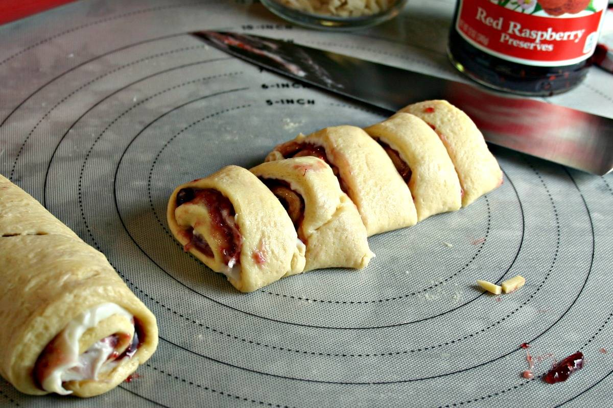 Raspberry Almond Sweet Rolls sliced and ready for the oven