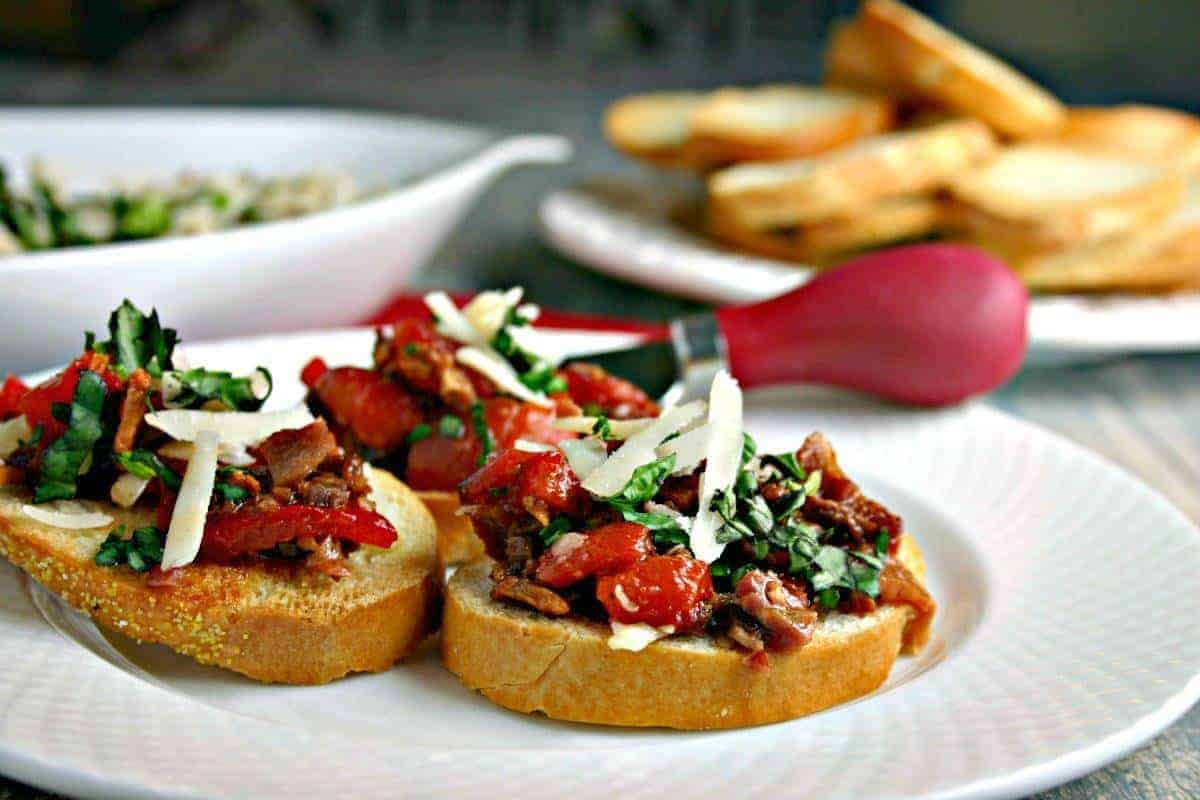 Roasted Red Pepper and Bacon Bruschetta   Life, Love, and Good Food