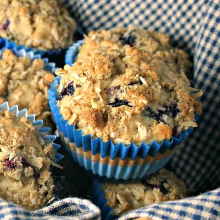 A close up of a fBlueberry Oatmeal Muffins