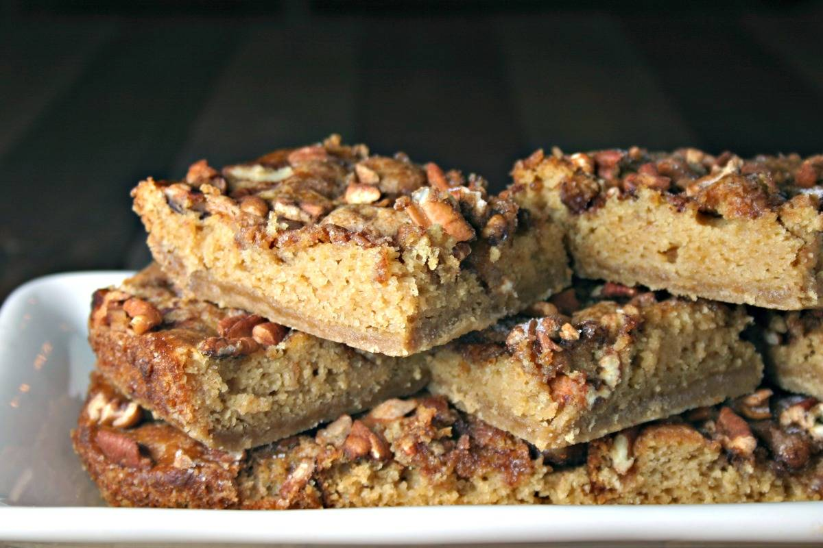 A close up of slices of Brown Sugar Pecan Coffee Cake on a plate