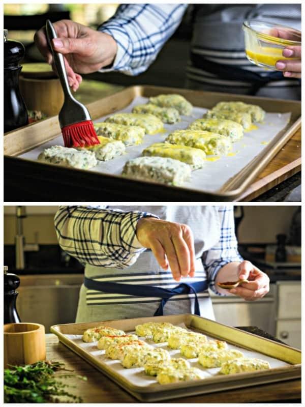 Brushing scones with egg wash