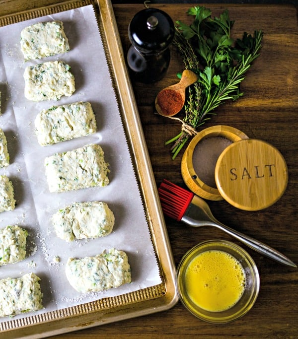 Savory Ricotta Scones with fresh herbs and egg wash