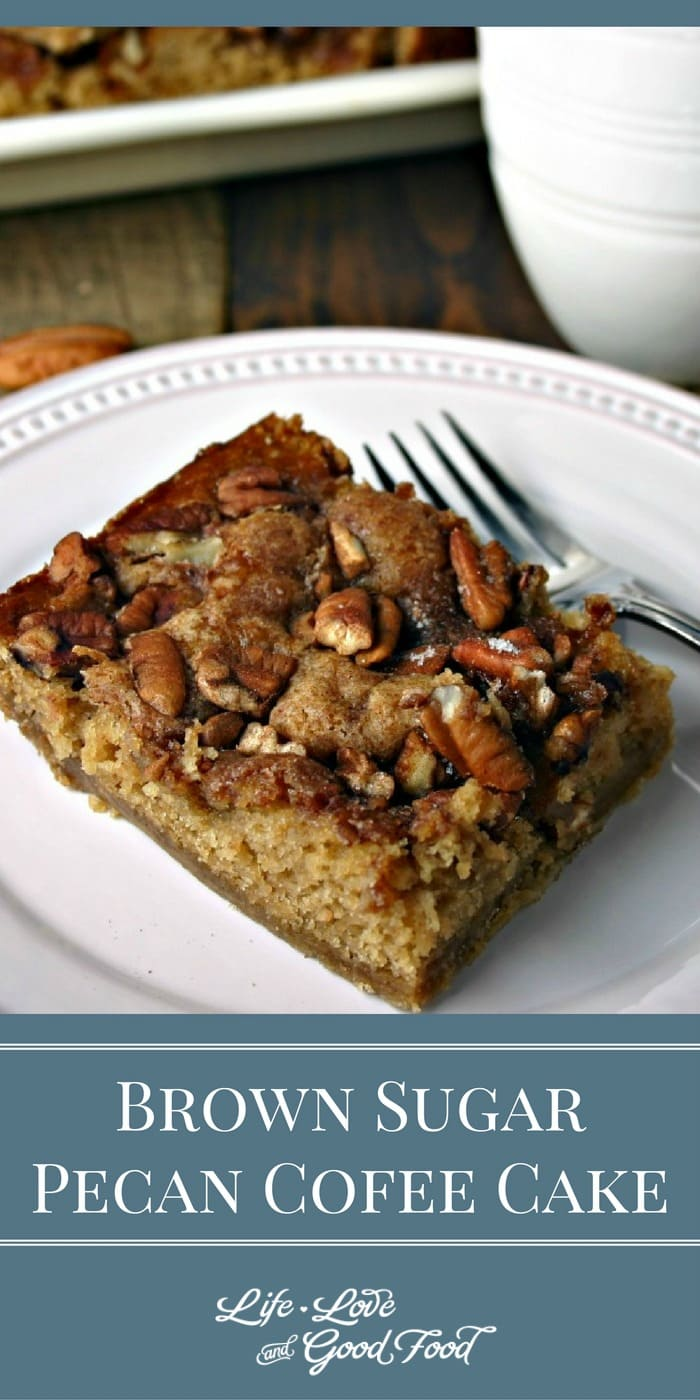 A slice of Brown Sugar Pecan Coffee Cake on a plate
