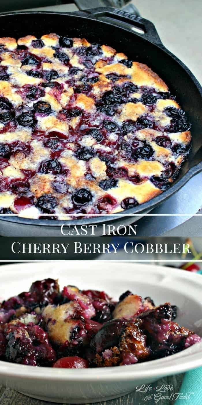 Cast Iron Cherry Berry Cobbler in a bowl