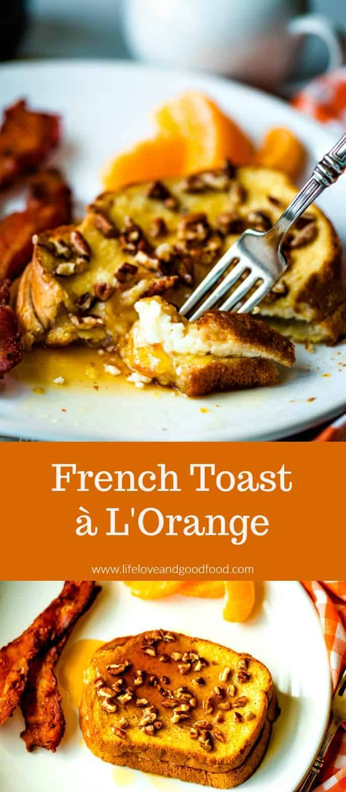 French Toast à L'Orange, or Orange French Toast, is best served hot out of the oven dusted with powdered sugar or drizzled with maple syrup. Perfect for an indulgent weekend breakfast, this French Toast is ready in just 30 minutes! #frenchtoast #orangefrenchtoast #breakfast #brunch