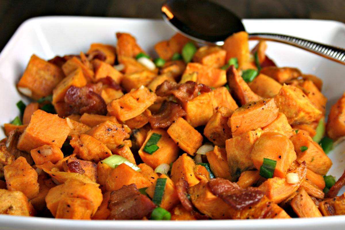 A plate of food, with Sweet Potato salad