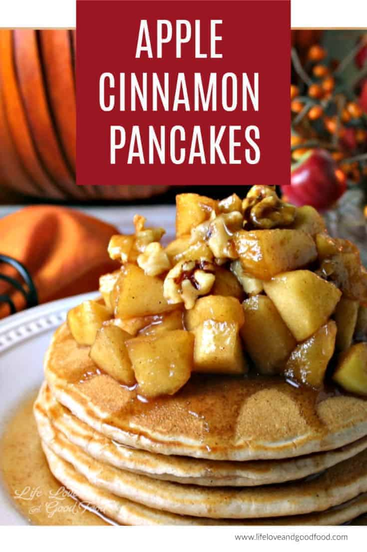 Apple Cinnamon Pancakes — light and fluffy cinnamon-spiced pancakes with a maple-flavored apple topping. This easy pancake recipe is perfectly delicious for Fall! #pancakes #apple #breakfast
