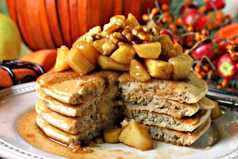 A plate Apple Cinnamon Pancakes