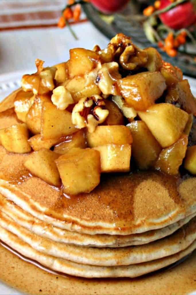 A plate of Apple Cinnamon Pancakes