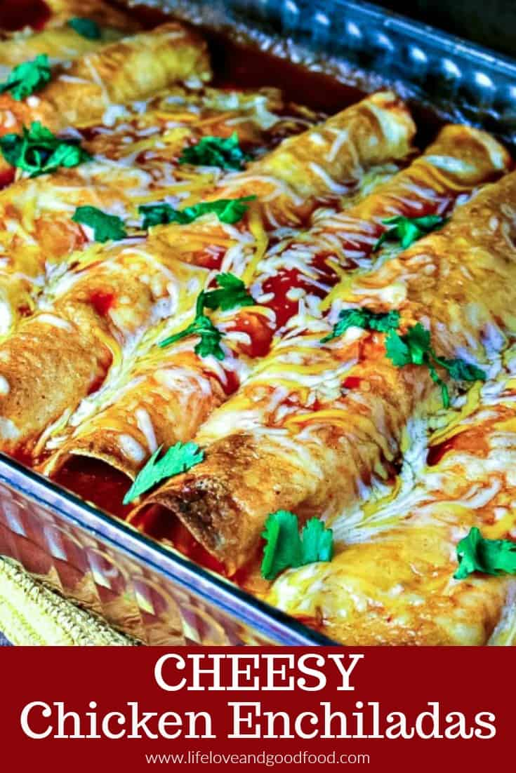 My favorite enchilada recipe! Loaded with chicken and cheese, these EASY Cheesy Chicken Enchiladas come out of the oven with a slight crunch, which makes them a little extra special. #chickenenchiladas #enchiladas #MexicanFood #dinner #recipe #cheese #chicken #casserole #mealtime