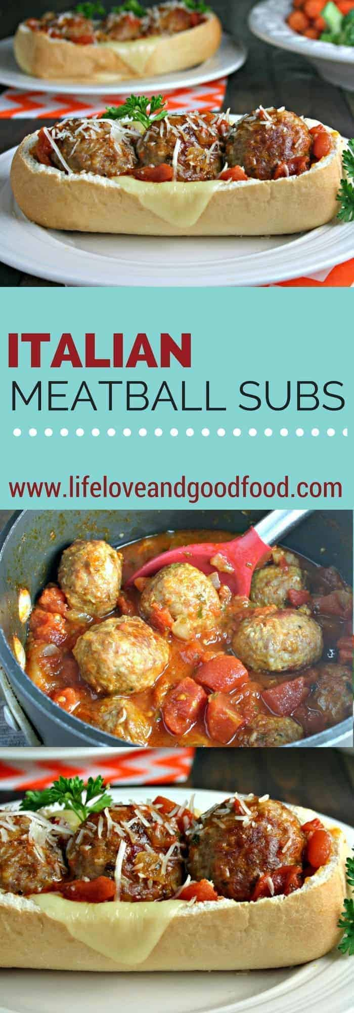 A close up of a plate of food on a table, with Italian Meatball Subs