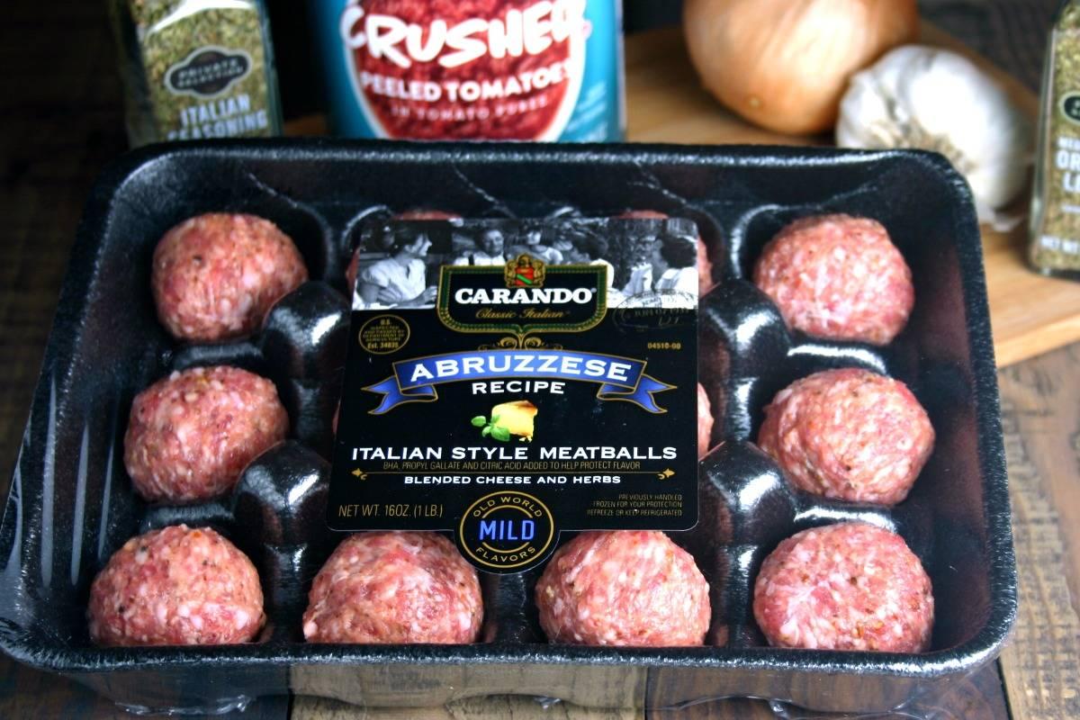 A plastic container of Carando Meatballs