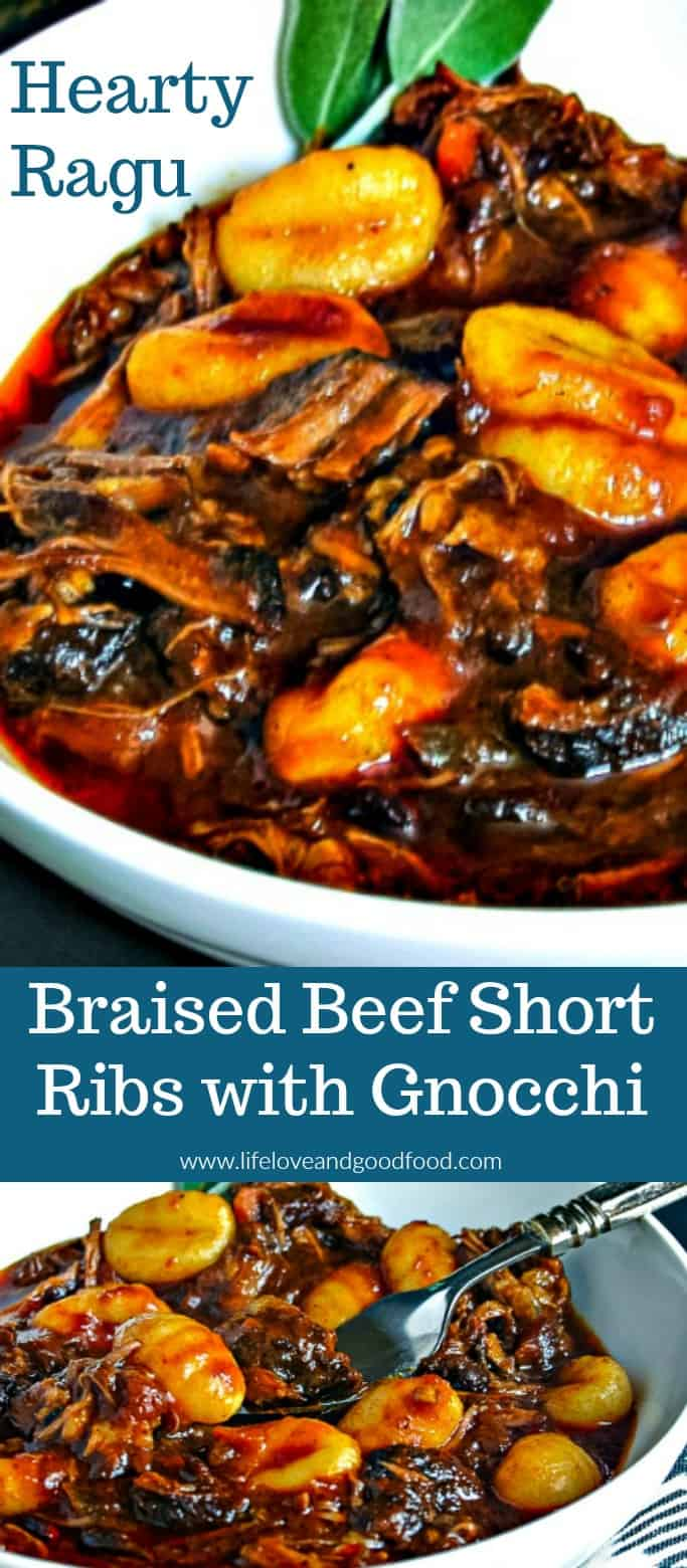 Braised Short Ribs with Gnocchi ,a slow-cooked hearty ragu served with potato gnocchi. #shortribs #gnocchi