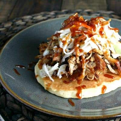 Redneck Tacos {pulled pork + hoecakes}
