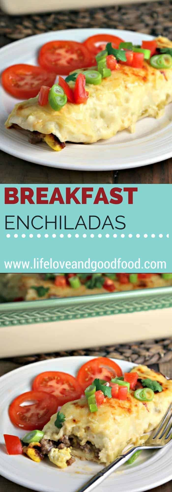 A plate of food on a table, with breakfast enchiladas