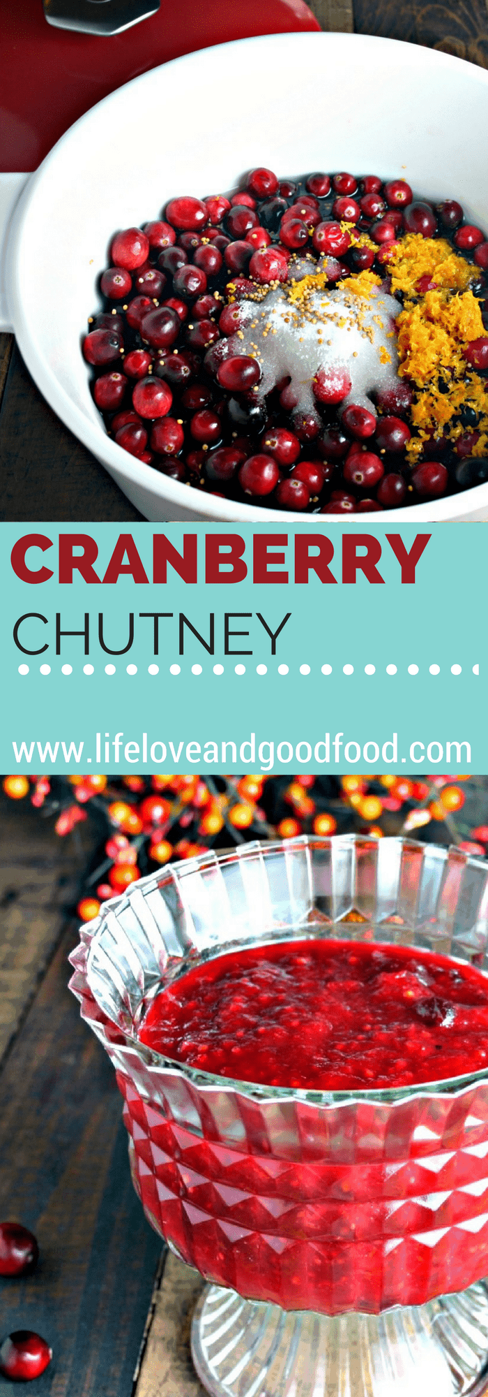This easy homemade Cranberry Chutney is both tart and sweet at the same time and spiced with just a touch of nutmeg, ginger, and cloves.