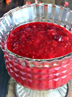 A close up of a glass bowl, with Easy Cranberry Chutney