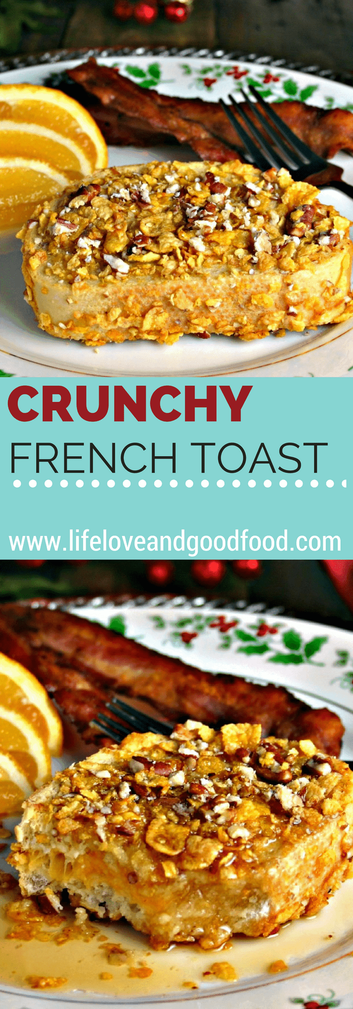 A plate of Crunchy French Toast on a table