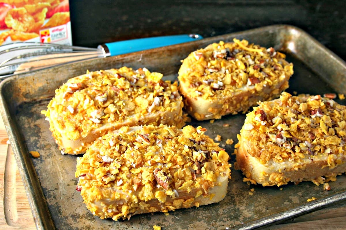 A tray of Crunchy French Toast on a table ready for the oven