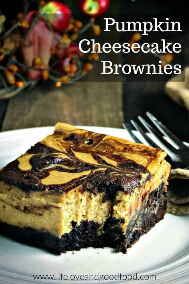Creamy pumpkin flavored cheesecake swirled into a rich, dark chocolate brownie – pure heaven! #barcookies #brownies #pumpkin