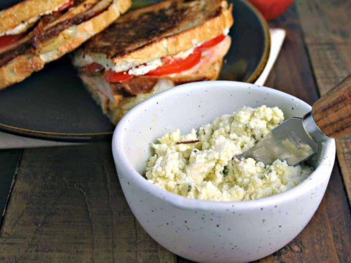 A bowl of food on a plate, with Turkey Stack with Feta Spread