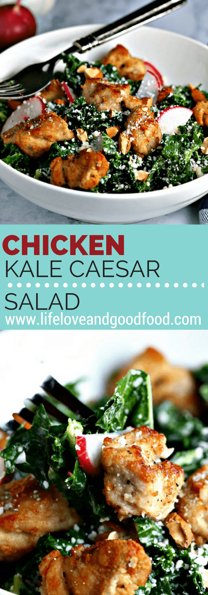 Chicken Caesar Salad is reinvented by substituting kale—one of the top-rated super foods—instead of the traditional romaine lettuce.