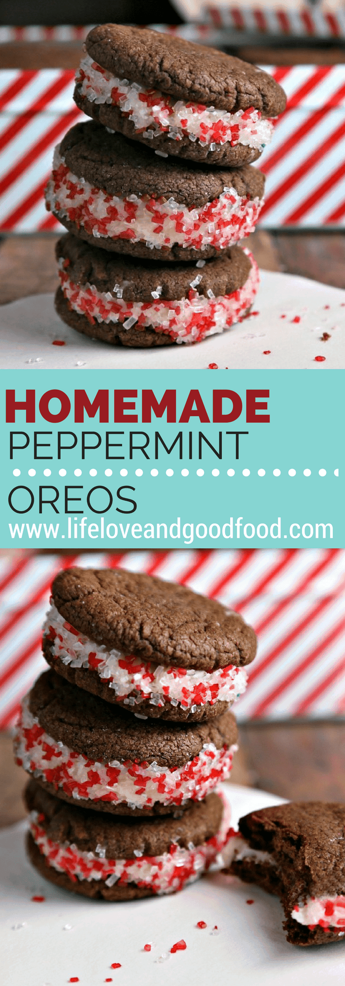 A simple chocolate cookie with a creamy peppermint filling, Homemade Peppermint Oreos are super easy to make and are super delicious, too! #oreo #peppermint #cookies