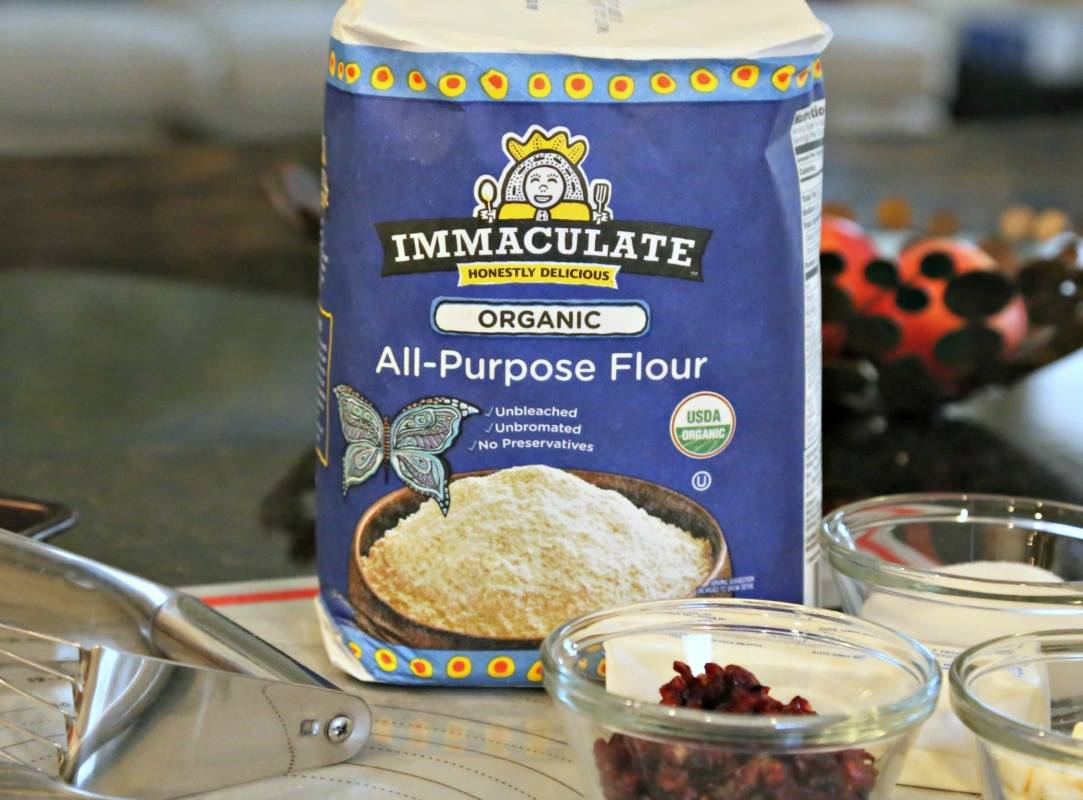 A package of Immaculate All-Purpose Flour on a table