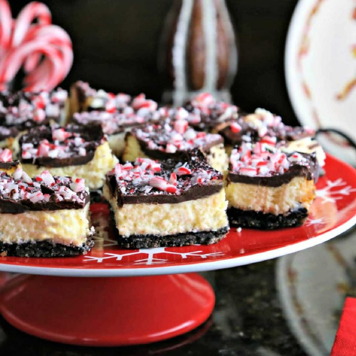 A Peppermint Cheesecake Bar on a plate