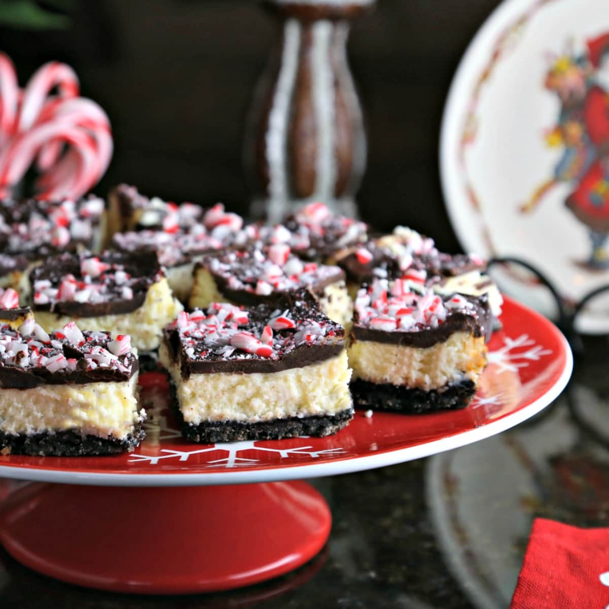 A close up of a plate of Peppermint Cheesecake Bars