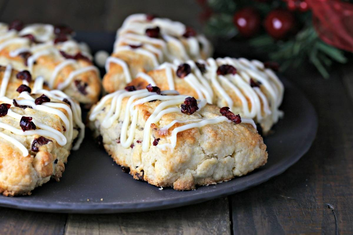 A close up of White Chocolate Cranberry Scones on a table
