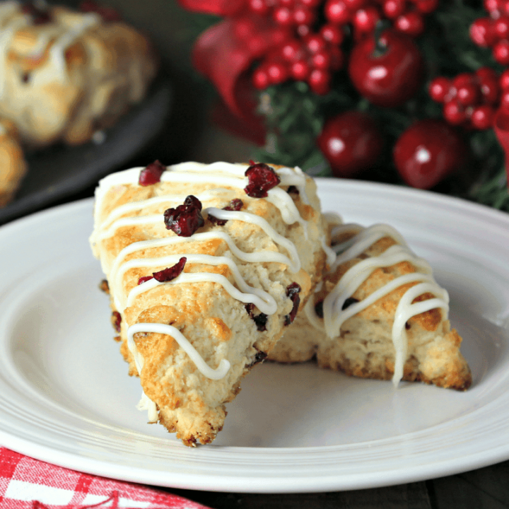 A plate of White Chocolate Cranberry Scones on a table