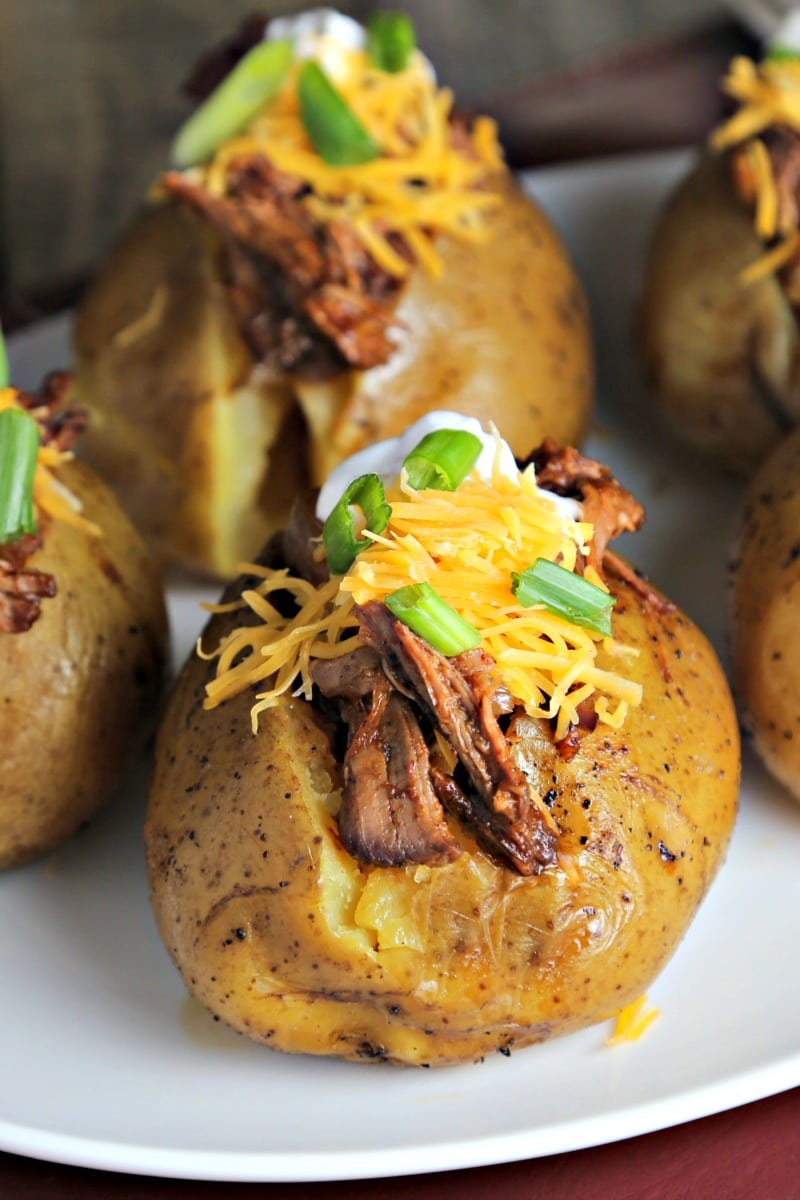 A plate of Slow Cooker Beefy BBQ Spuds